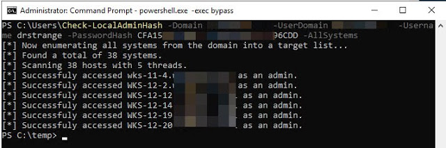 Check-LocalAdminHash – A PowerShell Tool That Attempts To Authenticate To Multiple Hosts Over Either WMI Or SMB Using A Password Hash To Determine If The Provided Credential Is A Local Administrator