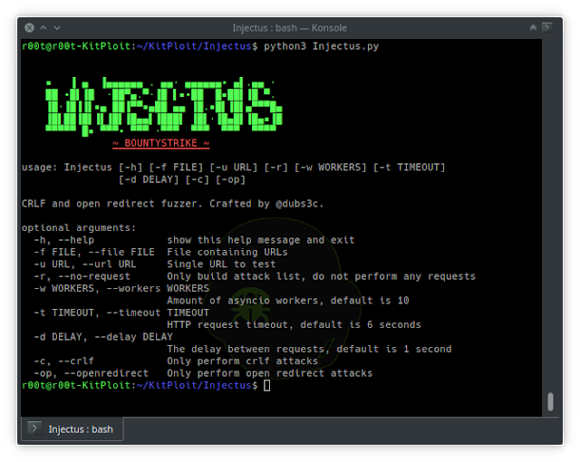 Injectus - CRLF And Open Redirect Fuzzer