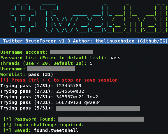 Tweetshell - Multi-thread Twitter BruteForcer In Shell Script