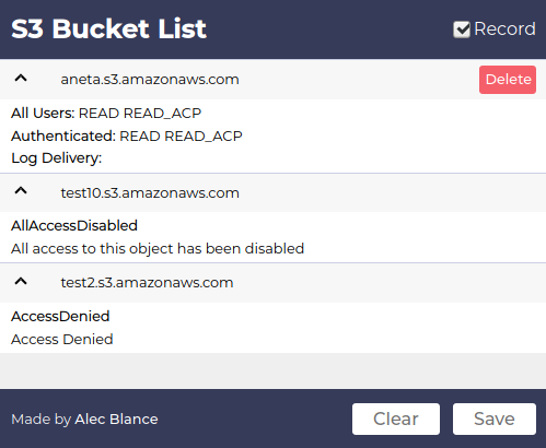 S3BucketList - Firefox Plugin The Lists Amazon S3 Buckets Found In Requests