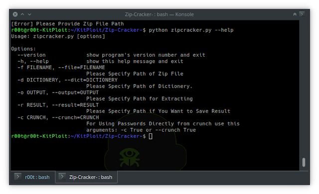 Zip Cracker - Python Script To Crack Zip Password With Dictionary Attack And Also Use Crunch As Pipeline