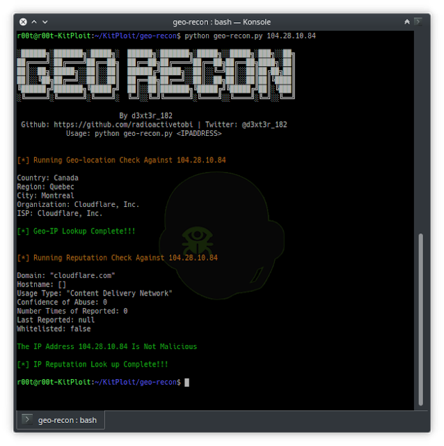 Geo-Recon - An OSINT CLI Tool Desgined To Fast Track IP Reputation And Geo-locaton Look Up For Security Analysts