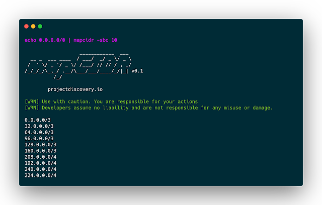 mapCIDR - Small Utility Program To Perform Multiple Operations For A Given subnet/CIDR Ranges