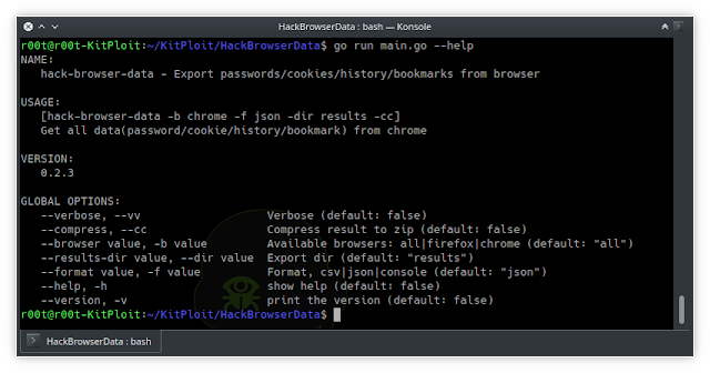 HackBrowserData - Decrypt Passwords/Cookies/History/Bookmarks From The Browser