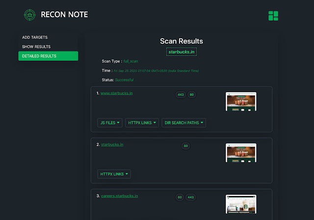 ReconNote - Web Application Security Automation Framework Which Recons The Target For Various Assets To Maximize The Attack Surface For Security Professionals & Bug-Hunters