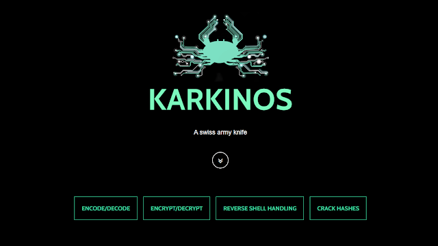 Karkinos – Penetration Testing And Hacking CTF's Swiss Army Knife With: Reverse Shell Handling – Encoding/Decoding – Encryption/Decryption – Cracking Hashes / Hashing