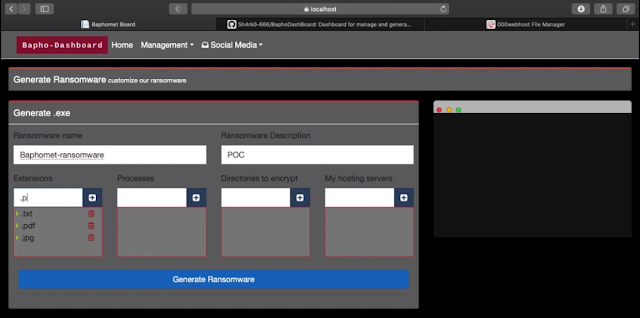 BaphoDashBoard – Dashboard For Manage And Generate The Baphomet Ransomware