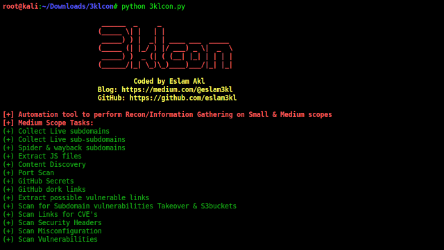 3klCon – Automation Recon Tool Which Works With Large And Medium Scope