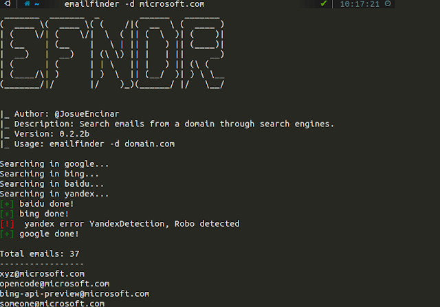 EmailFinder – Search Emails From A Domain Through Search Engines