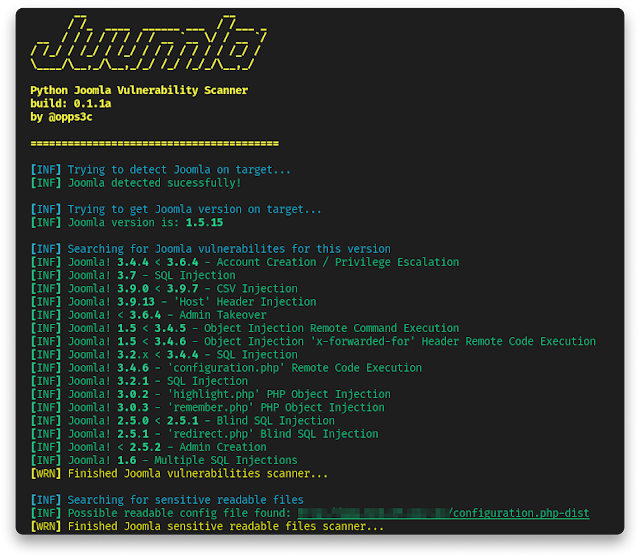 Juumla - Tool Designed To Identify And Scan For Version, Config Files In The CMS Joomla!