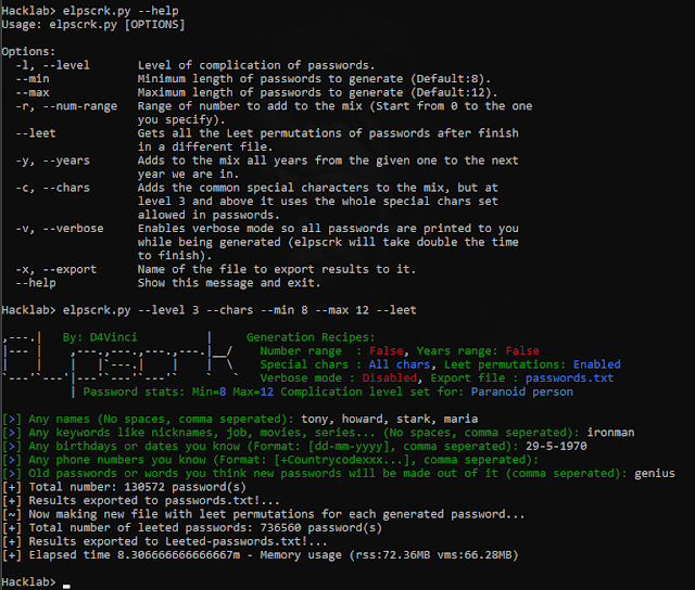 Elpscrk – An Intelligent Common User-Password Profiler Based On Permutations And Statistics